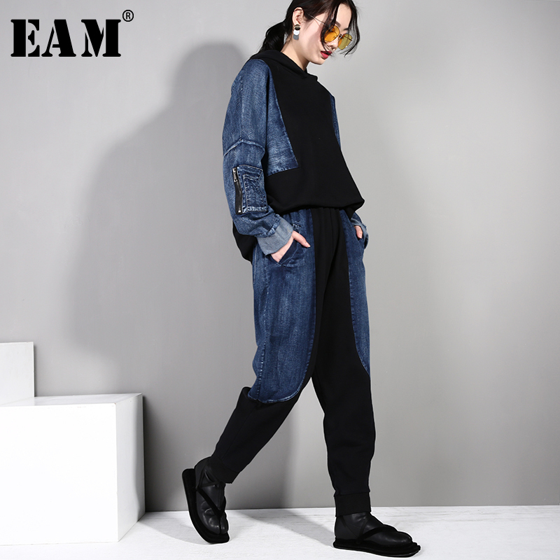 [EAM] 2019 New Autumn Winter Hooded  Long Sleeve Black Denim Stitch Loose Wide Leg Pants Two Piece Suit Women Fashion Tide AA59