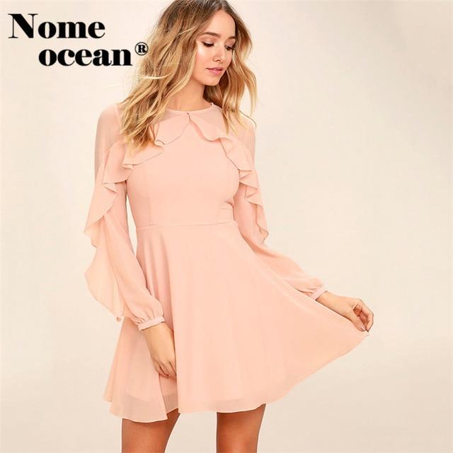 d967309c72ec QUIET GRACE BLUSH PINK LONG SLEEVE DRESS Empire Waist Skater Dresses 2018  Autumn Gauze Patchwork Ruffle Mini Dress M17050409