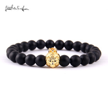 WML brand New style Buddha Bangle mens bracelet natural stone beads gold lion head Crown King Charms