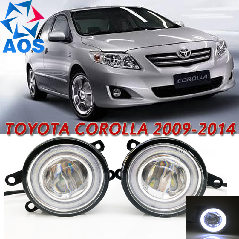 For Toyota Corolla 2009-2014 Car Styling LED Angel eyes DRL LED Fog light Car Daytime Running Light auto fog lamp with bulbs set купить