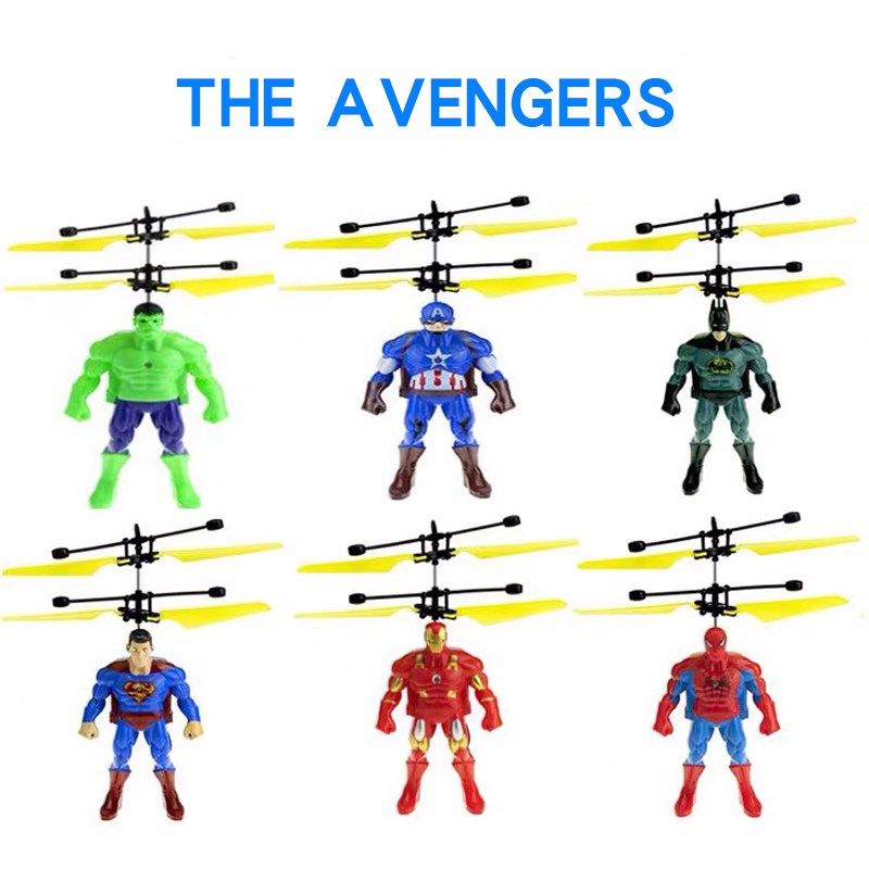 The Avengers Big Superhero mini Helicopter RC drone Fly Flashing Induction Aircraft Hand Control Quadcopter Dron LED