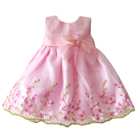 Baby Girl Dress Flower Elegant Dresses For Girls Pink Princess Toddler Dress Infant Clothing Birthday Wedding