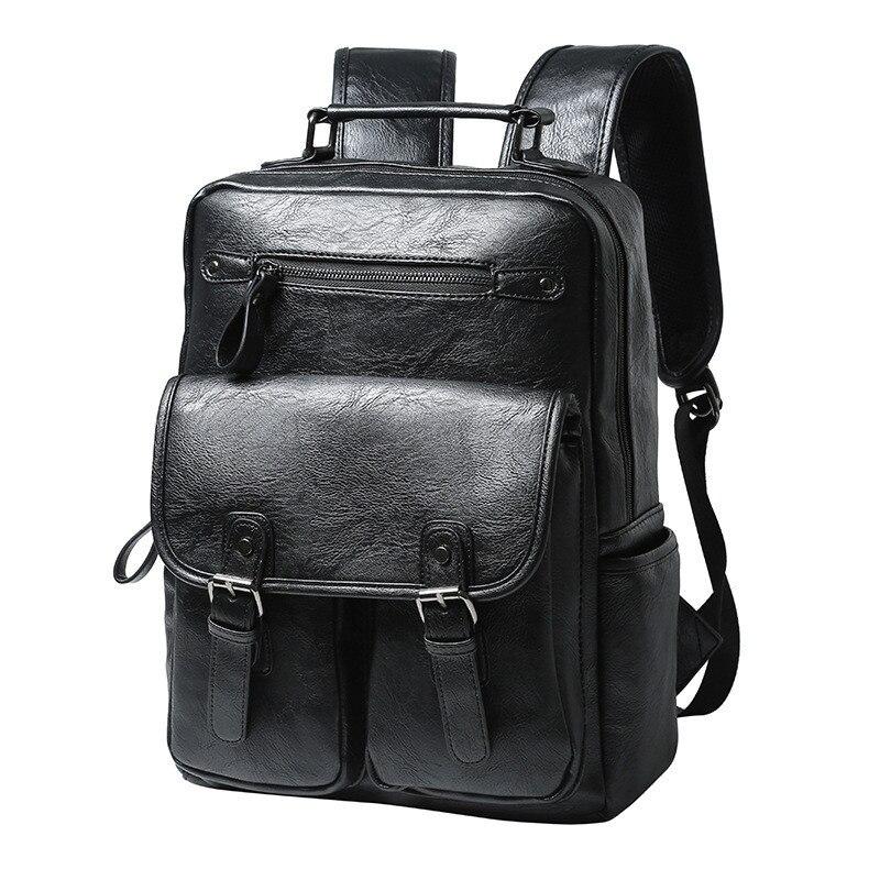 2019 Mannen Lederen Rugzak Hoge Kwaliteit Jeugd Reizen Rugzak School Book Bag Mannelijke Laptop Business bagpack mochila Schoudertas-in Rugzakken van Bagage & Tassen op  Groep 1