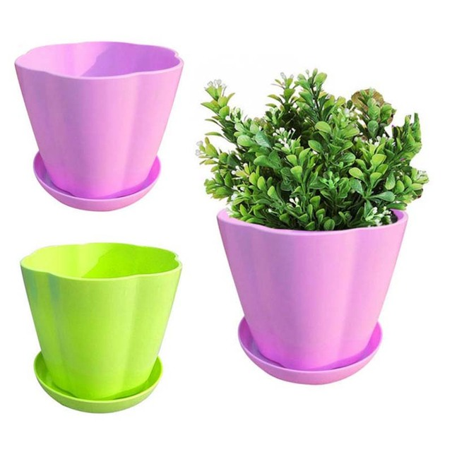 Plastic Flower Pots Colored Round Green Plants Multi Meat Imitation Porcelain Pumpkin Type Pot