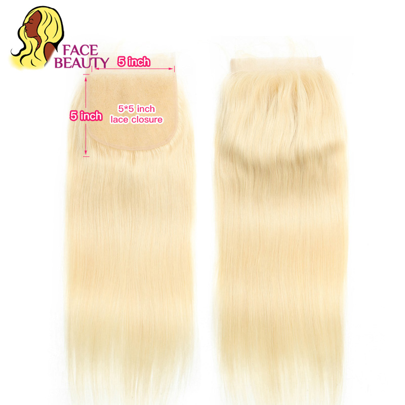 Facebeauty 5x5 Brazilian Straight Remy Human Hair Pure 613 Honey Blonde Lace Top Closure 8 22
