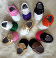 New Fashion mixed color 6sizes soft sole PU Leather Baby Moccasins bow child First Walkers fringe toddler shoes girls boys