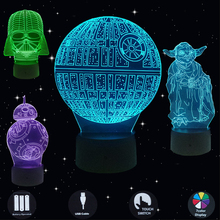 Stars Wars LED 3D Night Lights Creative Led Illusion Lamp Light Desk Table Lamp Lighting 7 Color Change Luminaria New Year Gifts стоимость