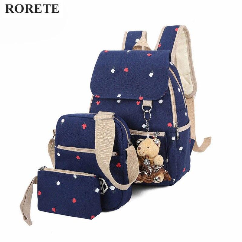 Мода 3 шт. комплект женщин холщовый мешок школы для девочек путешествия Рюкзаки для подростков Mochila прекрасный цветочный Рюкзаки рюкзак