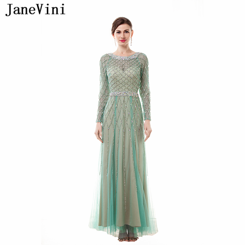 JaneVini Luxury Beading   Bridesmaid     Dresses   with Long Sleeves Sheer Scoop Neck Arabic Prom Gowns Tulle A Line Formal Party Gowns