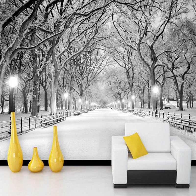 Black And White Snow Landscape Photo Mural Wallpaper 3D Stereo Living Room Bedroom Backdrop Wall Home Decor Papel De Parede 3D blue sky white clouds photo wallpaper custom ceiling mural hotel dining room living room frescoes home decor papel de parede 3d