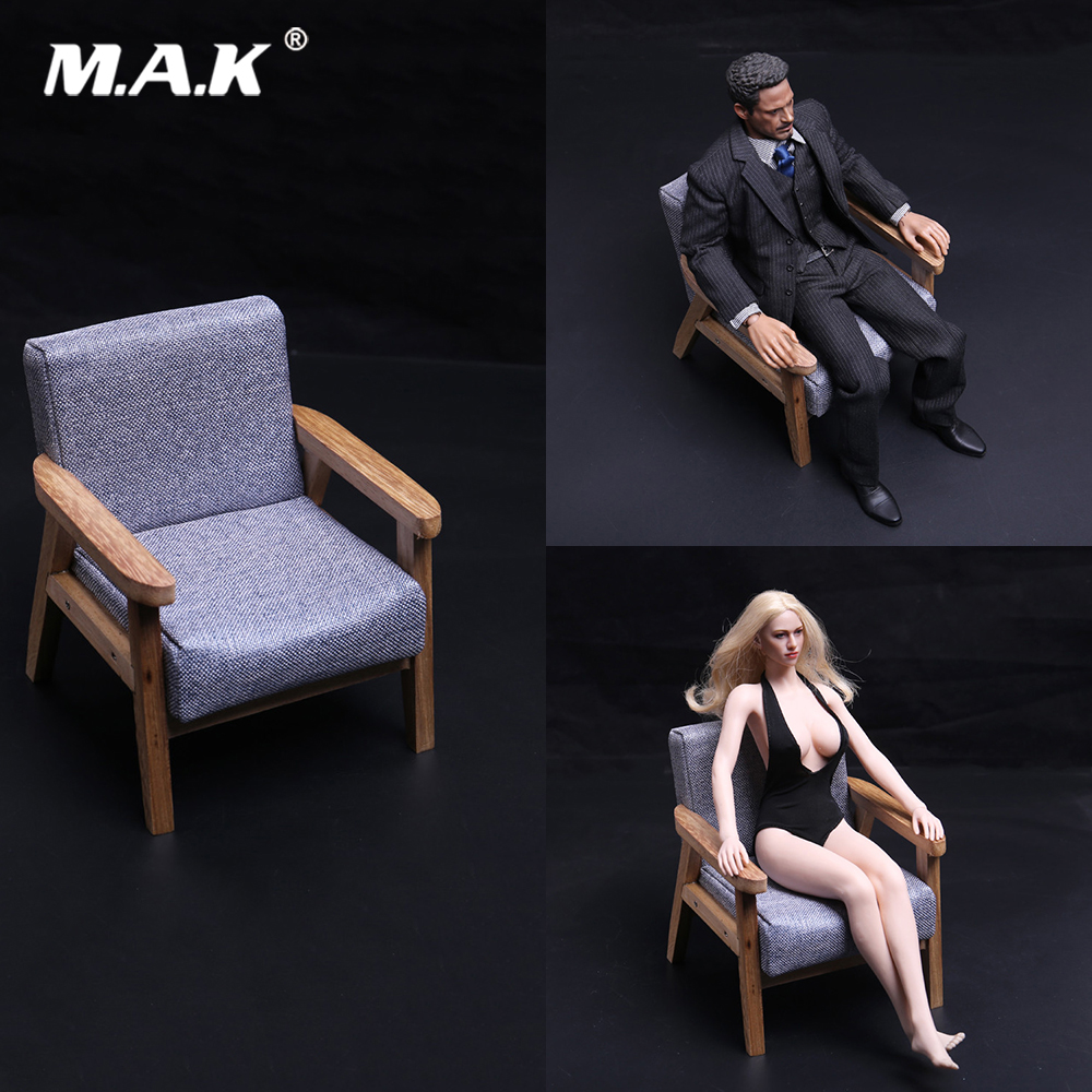 New 1:6 Figure Scene Accessory Modern Solid Wood Sofa Chair Model for 12'' Action Figure Body Not for Real people