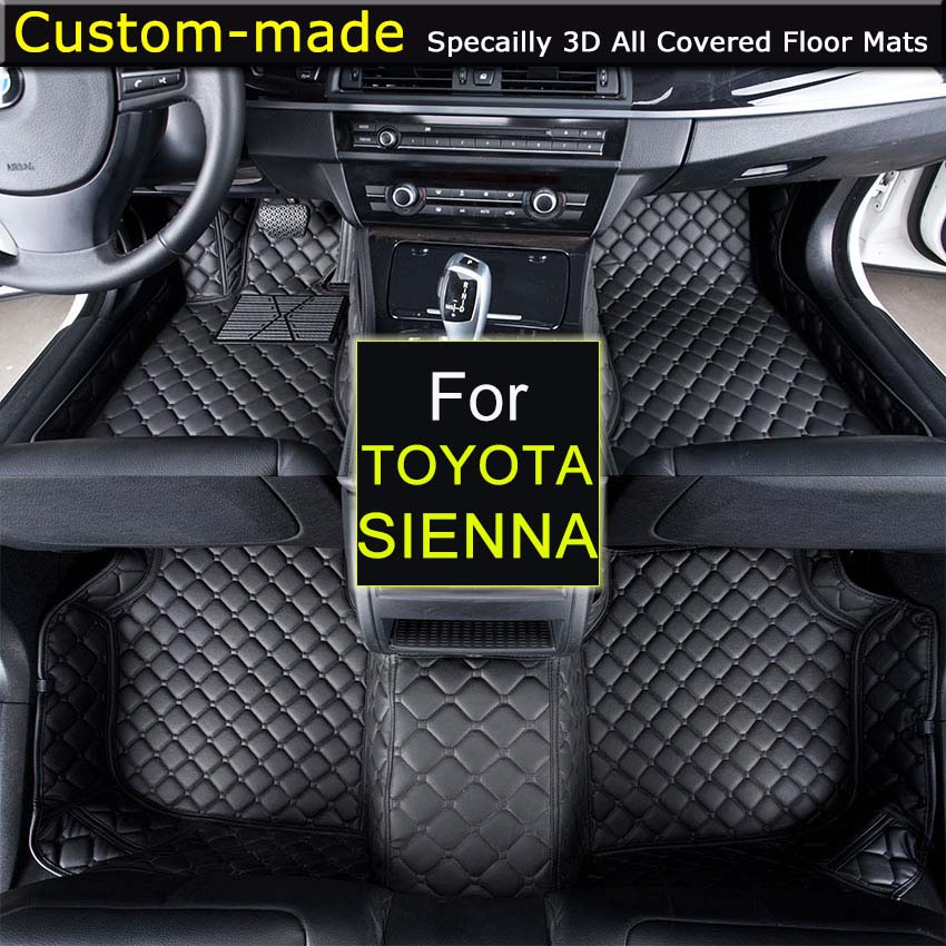 For Toyota Sienna 2005~2009 / 2011~2014 / 2015~ Car Floor Mats Car styling Foot Rugs Customized Auto Carpets Custom-made auto floor mats for honda cr v crv 2007 2011 foot carpets step mat high quality brand new embroidery leather mats