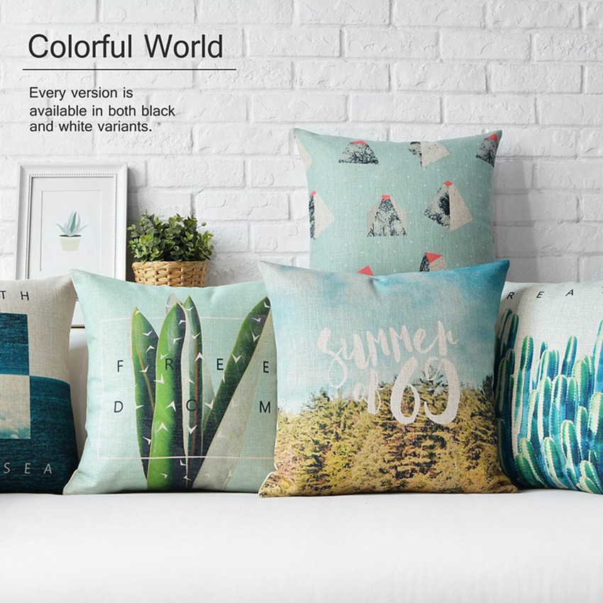 Nordic Oasis Green Plant Sea Pillow Cushions Thick Linen Pillowcase Sofa Cushion Home Decorative Pillows