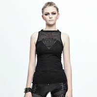 Devil Fashion Spring Summer Punk Women Sexy See Through Vest Gothic Black Sleeveless Fitted T Shirt Tops