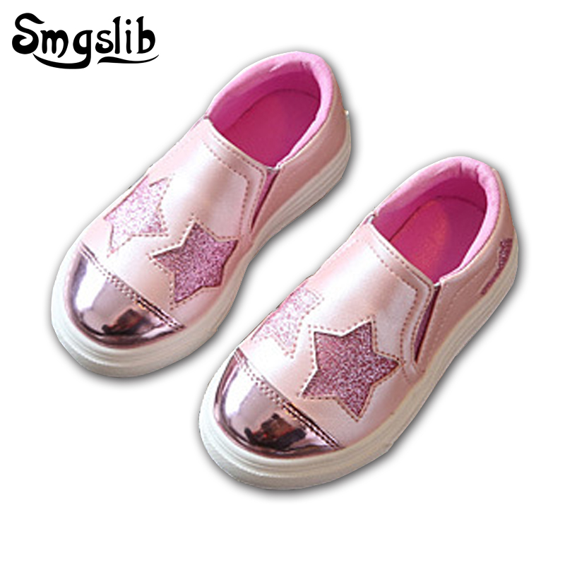 Smgslib Children Shoes Girls Casual Flat Silver Pink Kids Casual Shoes Toddler Girls Shoes Summer Fashion Trainers Boys Sneakers(China)