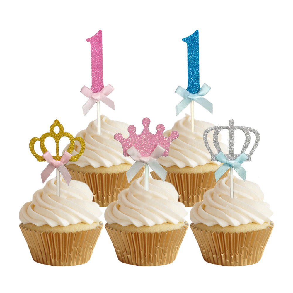 24pcs Glitter Number 1 Cupcake Toppers Baby One Year Old Birthday Cake Topper Girls Boys The