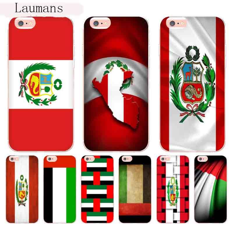 Laumans Peru and United Arab Emirates Flags Transparent Cover Case for  iPhone 8 7 6 6S Plus X 10 5