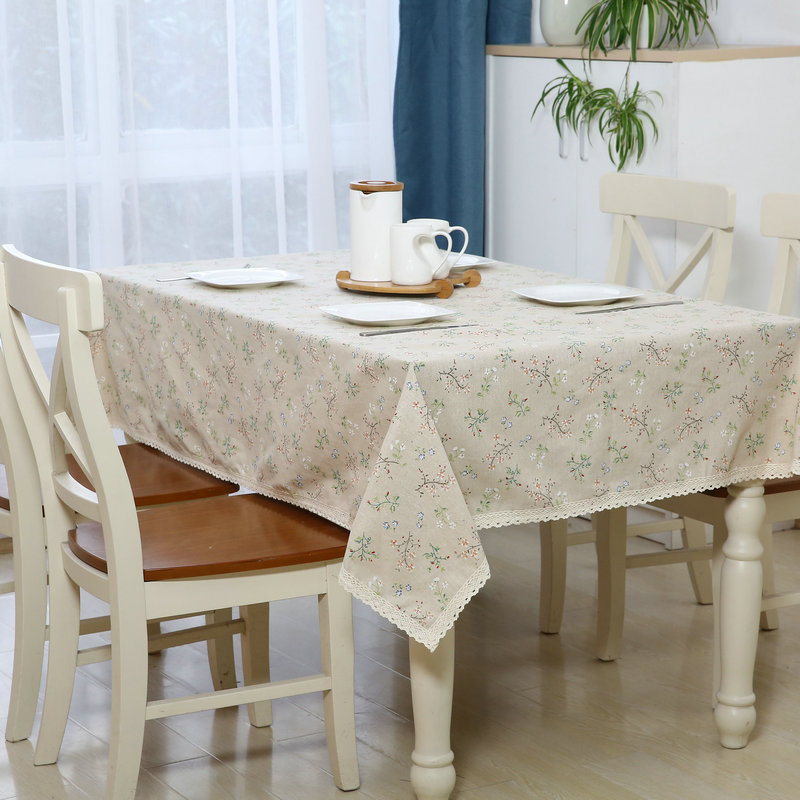 Simple style wood texture linen cotton table cloth dust proof end