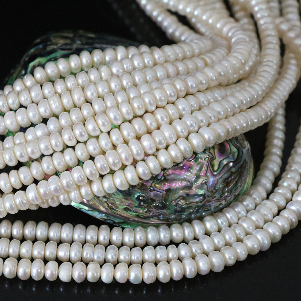 Beautiful white 6*8mm natural pearl beads cultured freshwater abacus elegant for women jewelry making 15inch B1336