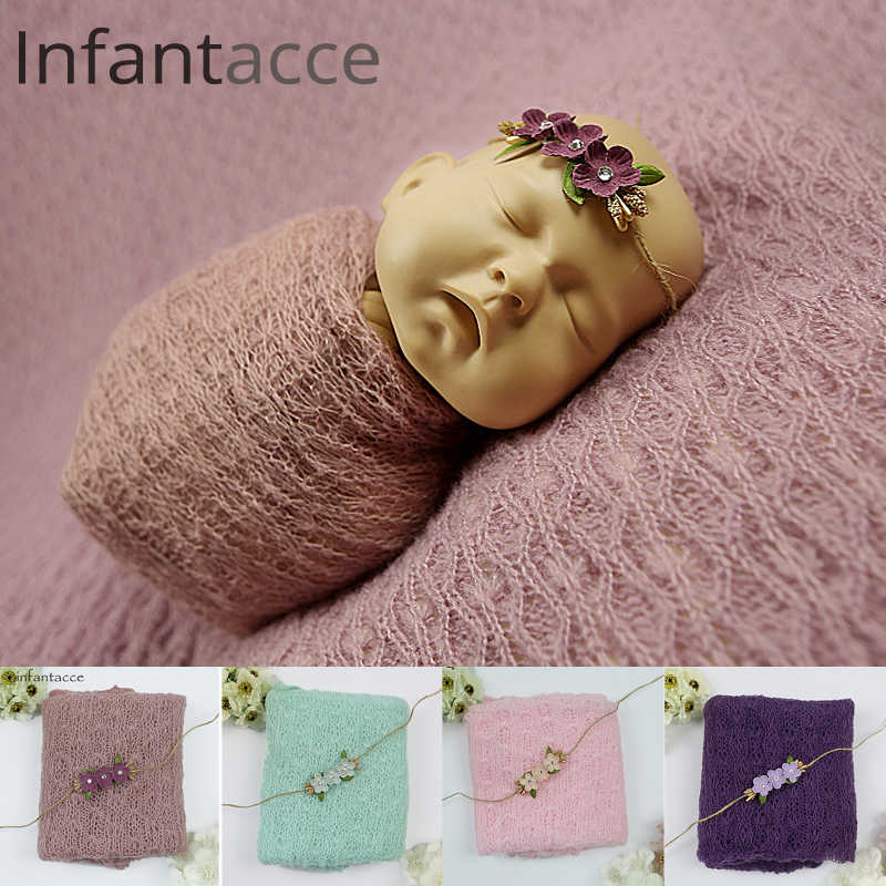 newborn mohair wrap+headband set, photography props blanket Hairbands hair accessories wraps for photography baby girl head band