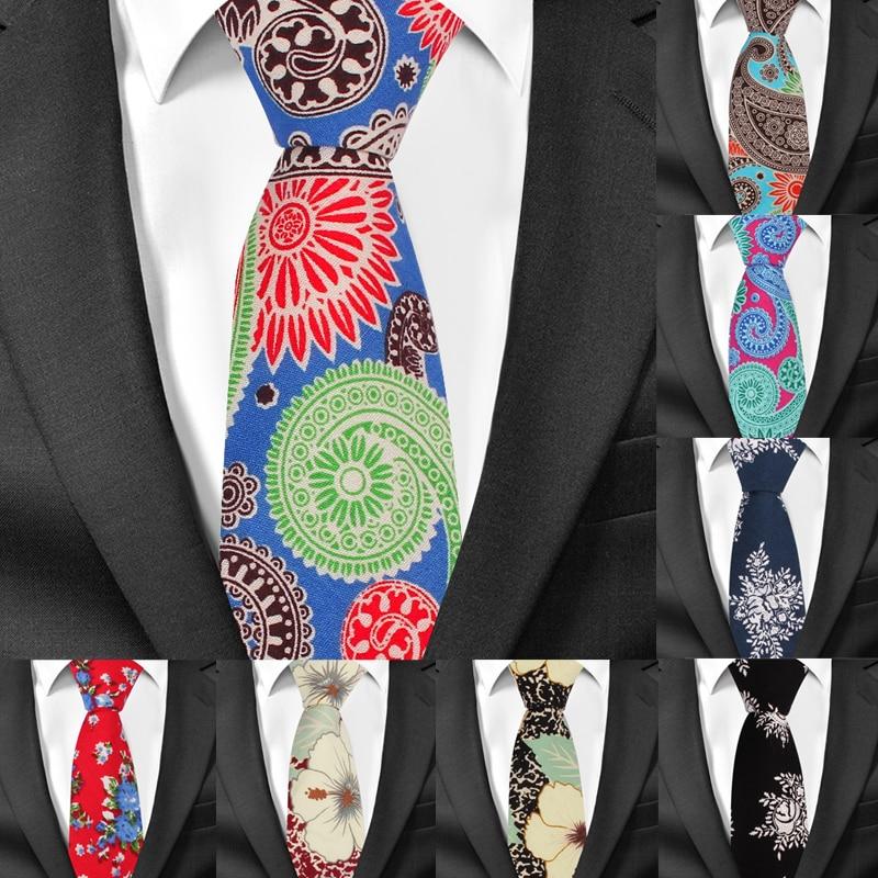 Fashion Print Cotton Neck Ties For Men Floral Mens Suits Tie Gravatas Causal Neckties For Business Wedding 6cm Width Men Ties