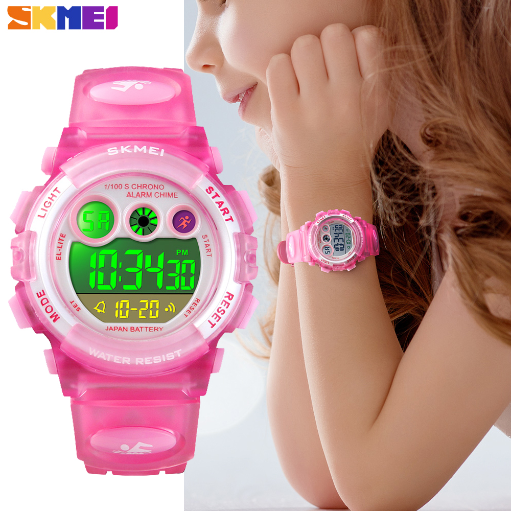 <font><b>SKMEI</b></font> Brand Sport Children Watch Fashion Waterproof LED Digital Watch Kids Alarm Date Watch for Boys Girl Gift Reloj Deportivo image
