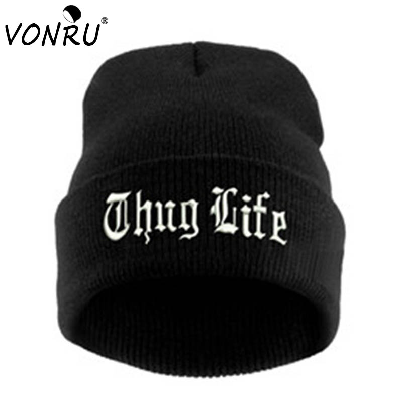Beanie Unisex Bonnets Knitted-Caps Letter Skullies Thug-Life Black Fashion Women Hip-Hop
