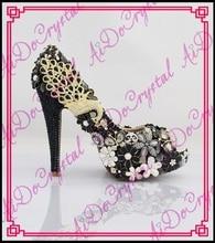 Aidocrystal Sexy damen peep toe-plattformen luxus strass blumen schwarz hochzeit schuh kristall abend partei high heels pumps