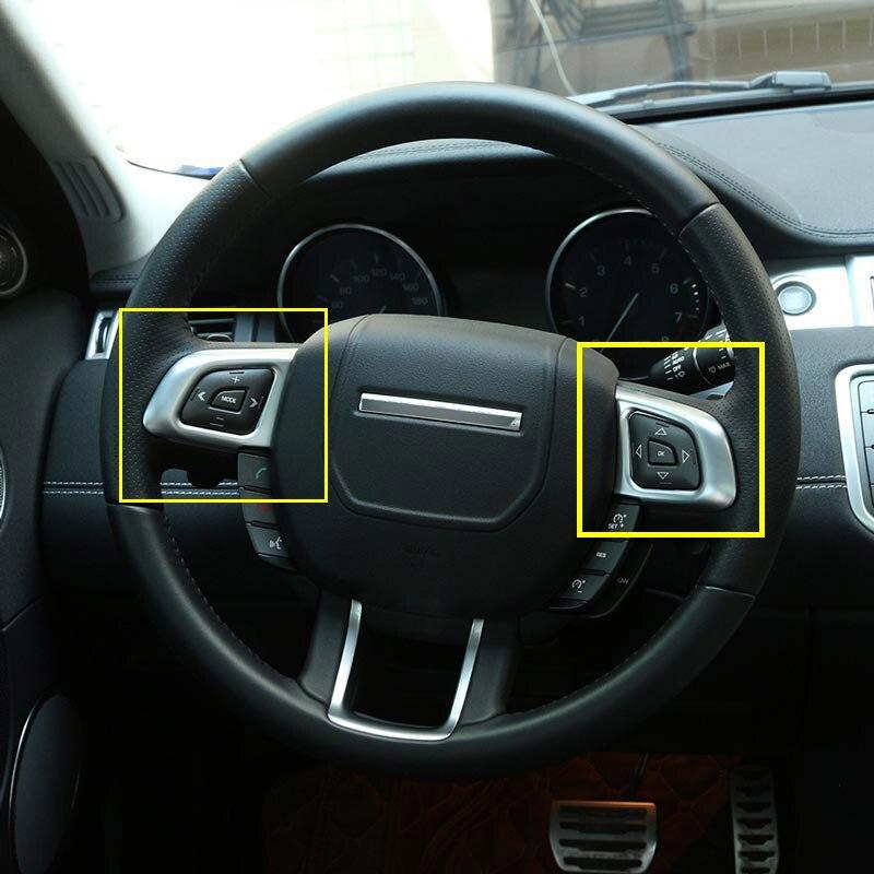 2 pcs chrome intrieur accessoire volant bouton autocollant pour range rover evoque 2011 2017 voiture style