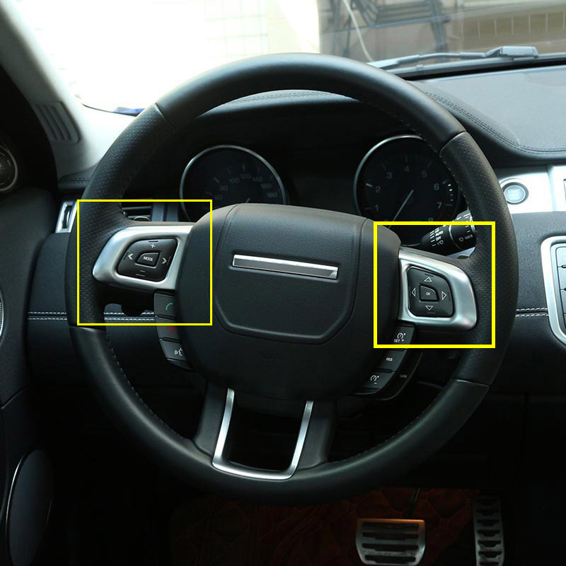 2pcs Chrome Interior Accessory Steering Wheel Button Sticker For Range Rover Evoque 2011-2017,Car Styling dsycar 1pair car styling steering wheel zinc alloy shift paddles for land rover aurora freelander discoverer range rover jaguar