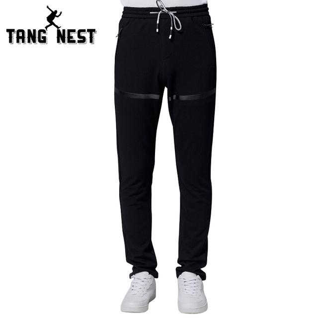 Tangnest dos homens casuais nova chegada estilo coreano soltas calças mid-cintura moda full-length primavera & outono calças mky254