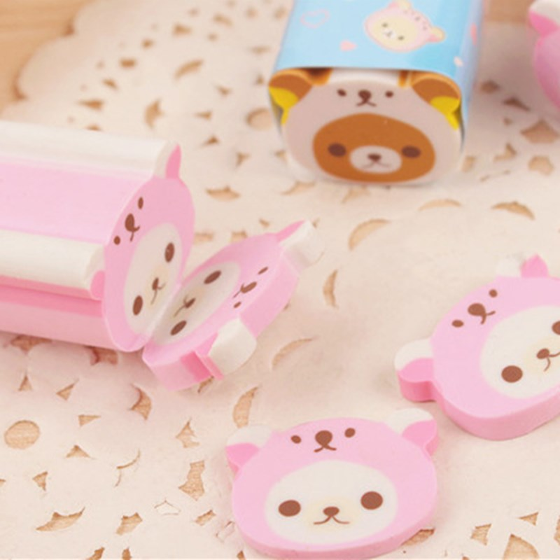 1PC Cute Kawaii Rilakkuma Eraser Rubber Erasers Correction School Office Supply Student Stationery