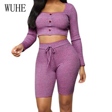 WUHE Purple 2 Pieces Sets Long Sleeve Buckle Top and Skinny Lace Up Pants Autumn Casual Sporting Playsuits Women Fashion Rompers