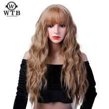 Women Long Curly Cosplay Wig Heat Resistant Fiber Natural Synthetic Hair Full Head Wigs Ombre Party For Black Women WTB