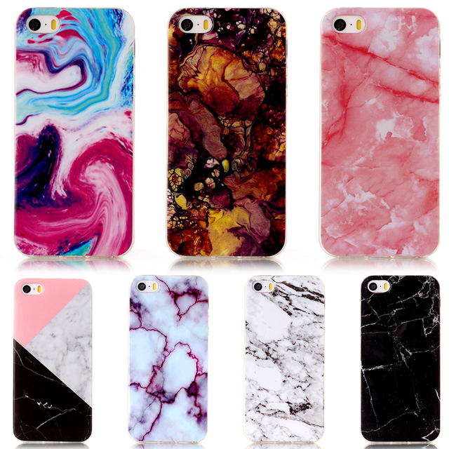 official photos 227fb 2a0ef US $1.84 |AKABEILA Marble Silicone Phone Cover Cases For Apple iPhone 5 5S  5G 55S iPhone SE 6C Case For iphone 5C 6 6S 7 Plus Cover Shell-in Fitted ...