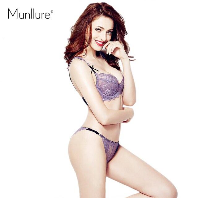 7dbc1624b9 Munllure Fashion sexy lace transparent ultra-thin cup insert plus size  underwear bra set