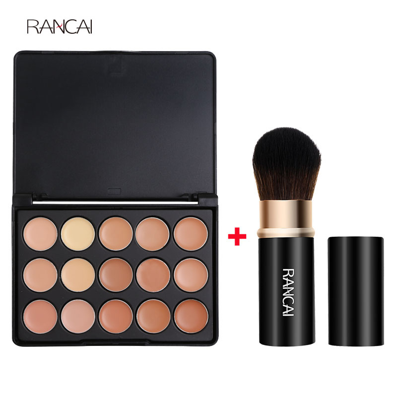 RANCAI 1pcs Retractable Powder Brushes Blusher Contour Makeup Brush+15 Earth Colors Concealer Palette Powder BB Cream Cosmetics