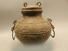 "DS 10 ""Arcaico China Dynasty Chinese Palace Bronce Dragón Bestia Olla Clásico Zun Florero"