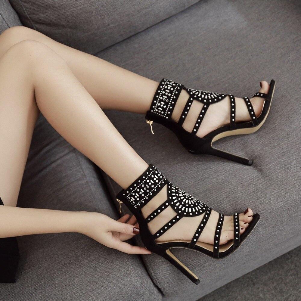 Women sandals Zipper High Heels Wedding Lady Shoes Flock Crystal Women Pumps Thin Heels Chaussure Femme Talon gladiator sandals