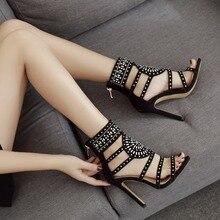 Women sandals Zipper High Heels Wedding Lady Shoes Flock Crystal Pumps Thin Chaussure Femme Talon gladiator
