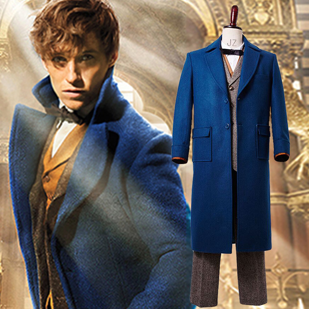 Adult Men Fantastic Beasts and Where to Find Them Eddie Newt Scamander Outfit Halloween Party Cosplay Costume Trench Coat