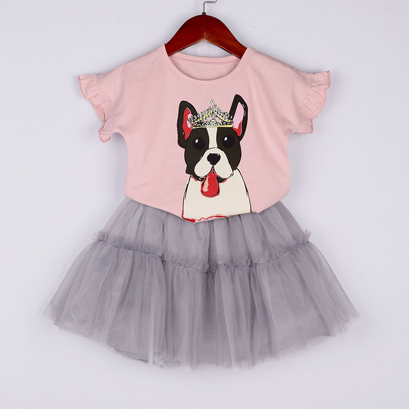 Girls Clothes Set Summer Cotton Crown Dog Printed Shirt And Tutu Skirt 2 pcs Baby Girl Clothing Suit Children Clothes Drop Ship image