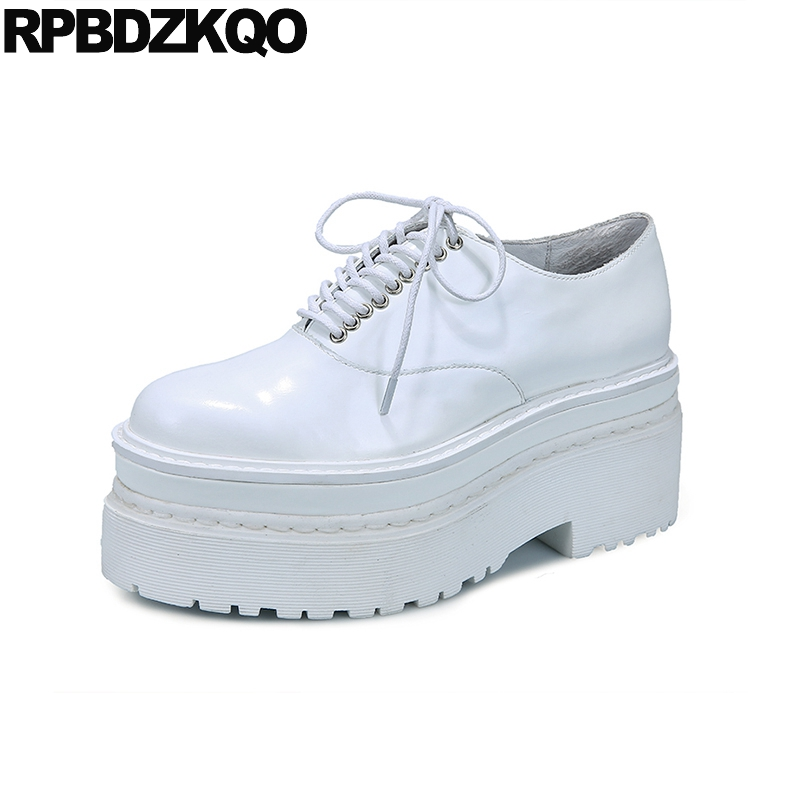 Lace Up Patent Leather White Muffin Oxfords Women Creepers Platform Shoes Black Thick Sole Gothic British Style Elevator Spring beffery 2018 british style patent leather flat shoes fashion thick bottom platform shoes for women lace up casual shoes a18a309