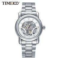 Time100 Механические часы мужские Скелет наручные часы самостоятельной ветер бизнес повседневный стиль водонепроницаемость Моды Роскошь