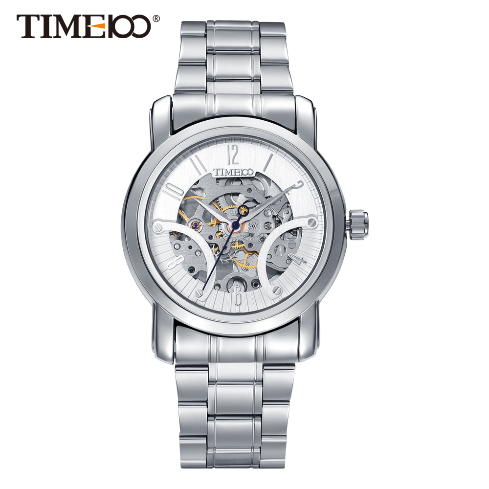 Time100 Mechanical watches Men's Skeleton wristwatches self-wind business casual style Water resistant Luxury Fashion 4 time100 w40109m