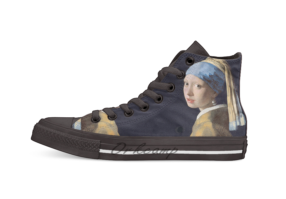 Johannes Vermeer Girl With A Pearl Earring  Novelty Design Casual Canvas Shoes Custom Shoes Drop Shipping