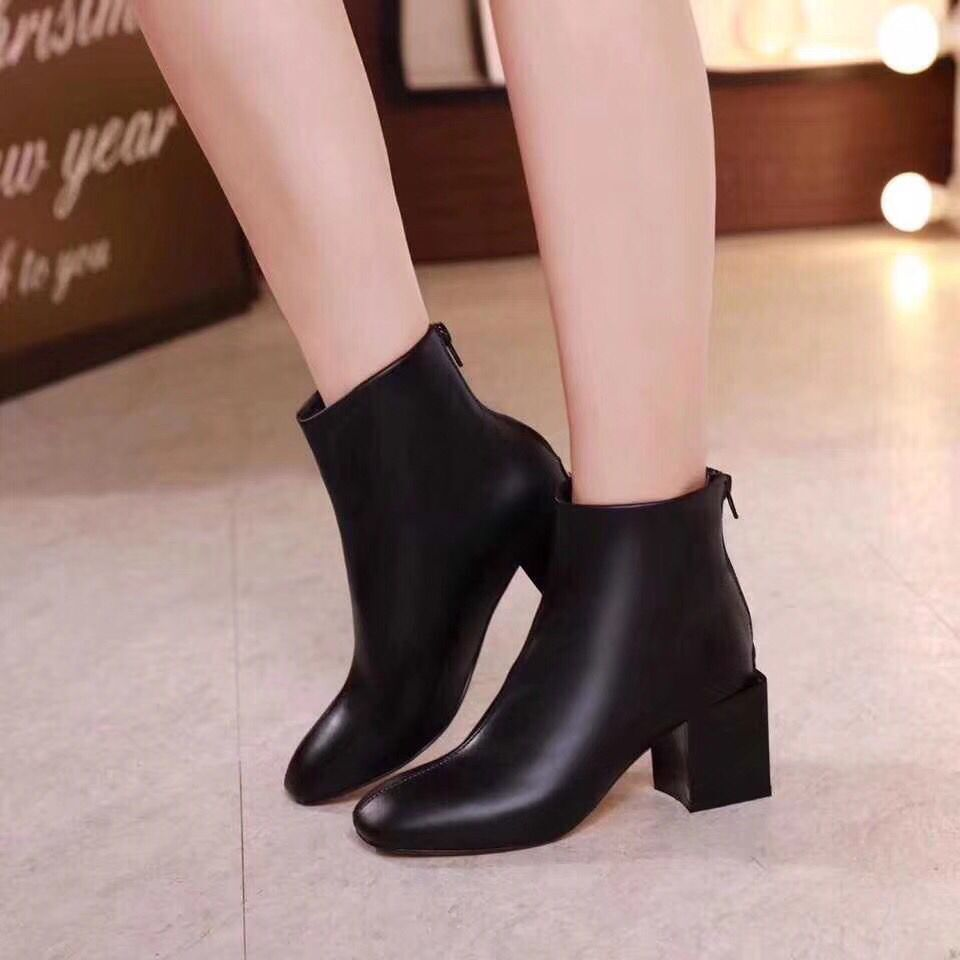 Haute Chaussures Qualité Talons Nouvelle Ol Véritable En Bottes À Confortable Courtes Cuir De Femmes Hauts Rond Zips Arrivée Bout qBBUFE