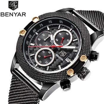 BENYAR Sport Fashion Watches Men Steel Mesh & Rubber Chronograph Waterproof Luxury Top Brand Quartz Watch Gold Saat dropshipping