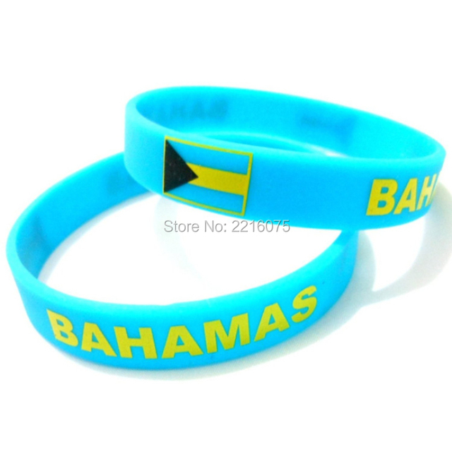 US $160 0  300pcs Flag BAHAMAS wristband silicone bracelets free shipping  by DHL express-in Cuff Bracelets from Jewelry & Accessories on