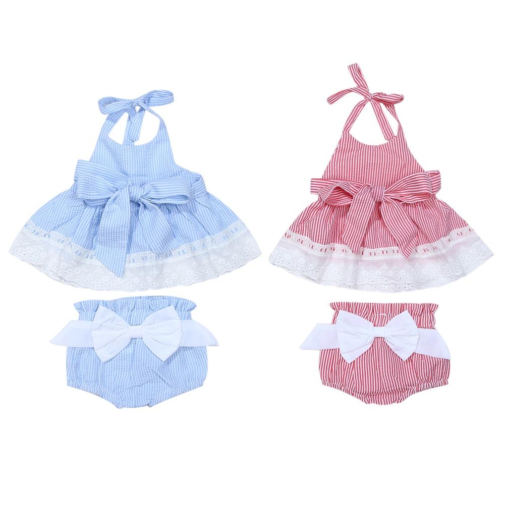 3PCS Set Sommar Nyfödda Baby Girl Kläder Ärmlös Backless Striped - Babykläder